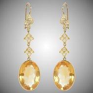 Oval Citrine Drop and Diamond Earrings