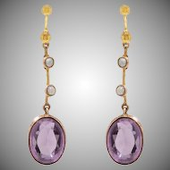 Victorian 9 KT. Yellow Gold, Amethyst and Split Pearl Earrings