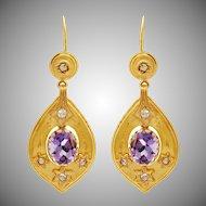 14 KT. Yellow Gold, Amethyst & Rose Cut Diamond Teardrop Earrings