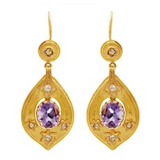 14 KT. Yellow Gold, Amethyst & Rose Cut Diamond Teardrop Earrings