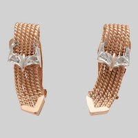 14 KT. Rose Gold and Rose Cut Diamond Braided Buckle Earrings