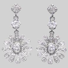 Edwardian 14 KT. White Gold and Old European Diamond Daisy Head & Dangle Earrings