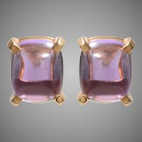Sugarloaf Cabochon Amethyst Earrings set in 18 KT Gold