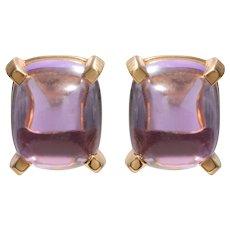 Sugarloaf Cabochon Amethyst Earrings set in 18 KT Gold