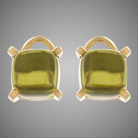 18 KT. Yellow Gold Square Cabochon Peridot Ear Clips