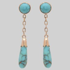 14 KT. Yellow Gold and Turquoise Baton Drop Earrings