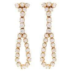 Vintage Diamond Bow Drop Earrings set in 18 KT. Gold