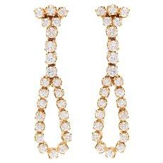 Vintage Diamond Bow Drop Earrings set in 18 KT. Gold