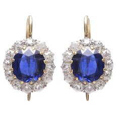 Antique 18KT Sapphire and Diamond Cluster Earrings