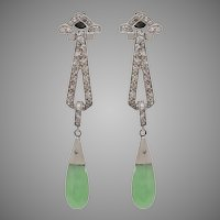 Antique 14 KT. White Gold Deco Natural Jade and Diamond Drop Earrings