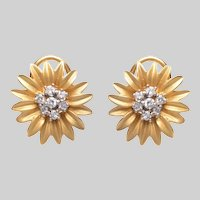18 KT Matte Gold and Diamond Flowerhead Earrings