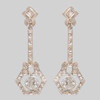 Elegant Edwardian Diamond Drop Earrings set in Platinumand Gold