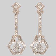 Elegant Edwardian Diamond Drop Earrings set in Platinum and Gold (RESERVED)
