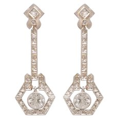 Elegant Edwardian Diamond Drop Earrings set in Platinumand Gold