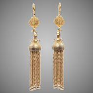 14 KT. Yellow Gold Tassel Drop Ball Tipped Fringe Earrings