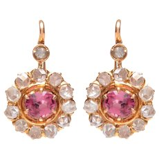 Antique Pink Spinel and Rose Cut Diamond Cluster Earrings