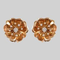 18 KT Gold and Diamond Large Flowerhead EarClips