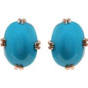 Vintage Natural Opal Cabochon Turquoise set in 14 KT. Rose Gold