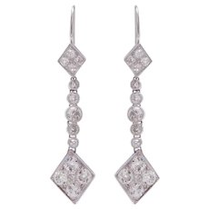 Kite Shape Platinum and Diamond Earrings