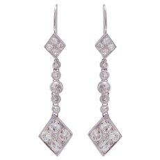 Kite Shape Platinum and Diamond Earrings