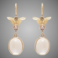 Moonstone set Drop Earrings on 14 KT. Yellow Gold and Rose cut Diamond Tops