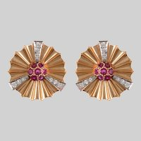 Retro 14 KT. Rose Gold and Ruby Fan Clip Earrings