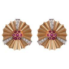 Retro 14 KT. Rose Gold and Ruby Fan Clip Earrings