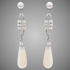 Antique Opal Baton and Seed Pearl Dangling Earrings