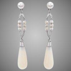 Antique Opal Baton and Seed Pearl Dangling Earrings