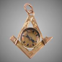 Vintage English Free Masons Compass Charm / Pendant