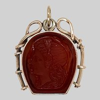 Antique 14 KT Gold and Carnelian Horseshoe Fob Pendant