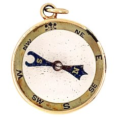 Antique 15 KT Compass Pendant
