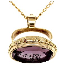 Victorian 14 KT Gold and Amethyst Fob