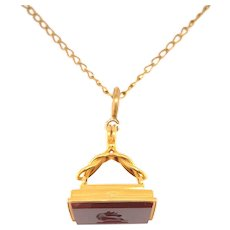 Antique 18KT Gold and Carnelian Horse in Profile Fob