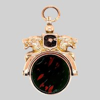 Antique Double Lion Head Carnelian and Bloodstone Spinner Fob