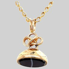 Tiny Banded Agate and 14KT Fob Pendant