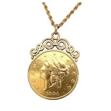 1904 Solid Gold American Liberty Coin in Decorative Frame Setting