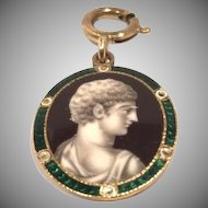 Greek God in Profile Antique Pendant