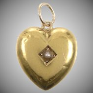 Antique 15 KT Gold and Pearl Heart Pendant
