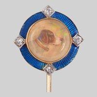 Antique Essex Enamel and Diamond Stick Pin