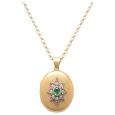 18 KT. Gold English Victorian Star Motif Locket with An Emerald and Old European Diamonds