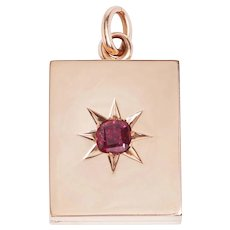 Antique 14 KT. Rose Gold and Ruby Book Shape Locket