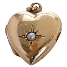 9 KT. Yellow Gold and Pearl Puffed Heart Locket