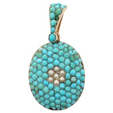 Victorian Turquoise and Seed Pearl Locket