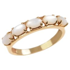 14 KT. Yellow Gold 5 Stone Oval Cabochon Moonstone Band