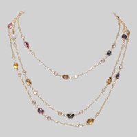 18 KT Gold Multi Gem Necklace