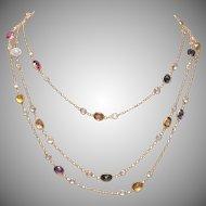 18 KT Gold Multi Gem Necklace