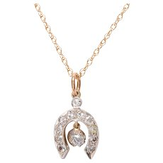 Antique 14 KT. Yellow Gold and White Gold & Old Mine Diamond Horseshoe Pendant