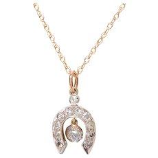 Antique 14 KT. Yellow Gold and White Gold & Old Mine Diamond Horseshoe Pendant