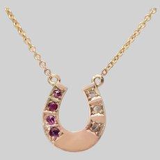 Ruby and Diamond Horseshoe Necklace
